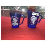 LOT 2 BLUE SHIRLEY TEMPLE PITCHERS