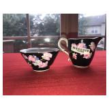 Paragon Sugar & Creamer Black and Roses
