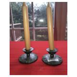 Lot 2 Antique Lead Candle HoldersE.P