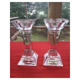 Pair Clear Square Tall Candle Holders