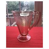 Antique Pink Glass Etched Pitcher