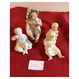 Lot 4 Vintage Bisque Baby Doll Figures