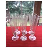 Lot 6 Fine Glass Etched Tall Beer Glasses