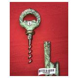 Antique Key Shaped Cork Screw Verdigris