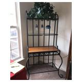 Wrought Iron Bakers Rack Wood Table