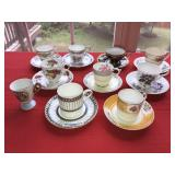 Lot 10 Antique Espresso Tea Cups and 9 Saucers