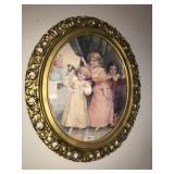 Large Oval Framed Vintage 2 Children