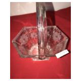 Glass Antique Small Etched Brides Basket