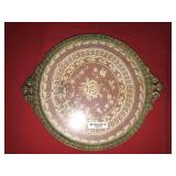 Antique Doily in Glass Platter Serving Tray 2