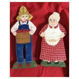Pair Wooden Figures Farmer and Wife Hand made