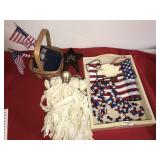 Misc Lot Americana Items Flag Basket Doll
