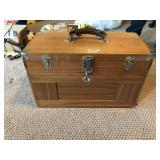 Vintage Wooden Carpenter Artist Chest Case