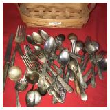 Basket and Large Lot Silverplate Flatwear Spoons