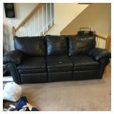 Large 3 Cushion Sofa Leather with 2 Reclining