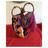 Lot Scarf Scarves and Display Holder