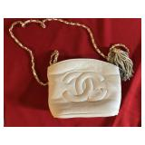 CoCo Channel White Soft Leather Purse Vintage