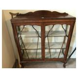 Antique Glass Wood Display China Cabinet