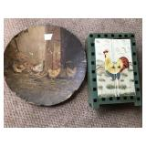 Antique Wood Plate and Cupboard CHICKENS