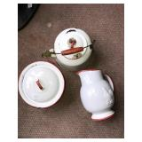 Lot 3 Enamel Ware Pots Pitcher Ceramic Red White