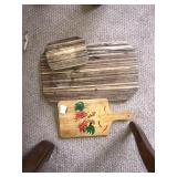 Lot 3 Wooden Kitchen Items Cutting Boards