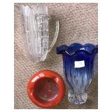 Lot 3 Glass Antique Ashtray Vase Pitcher