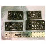 LOT OF 4 TIN STENCIL PLATES