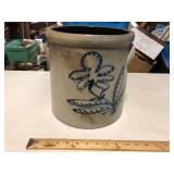 3 GALLON BUFFALO NY CROCK WITH BLUE FLORAL