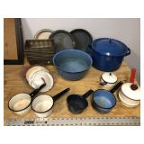 LARGE LOT OF ENAMEL WARE