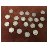 LOT OF 20 SILVER WARTIME NICKELS