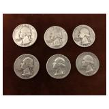 LOT OF 6 SILVER QUARTERS
