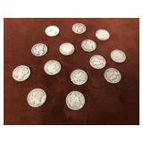 LOT OF 14 SILVER MERCURY AND ROOSEVELT DIMES