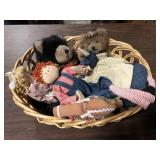 BASKET FULL OF BEARS AND DOLLS