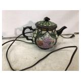 STAINED GLASS LIGHTED TEA POT