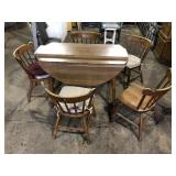 DROP LEAF TABLE AND 5 CHAIRS