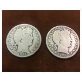 2 BARBER HALVES 1901-0 & 1908 O