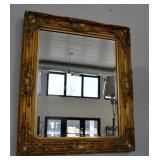 "Gold Gilt Bevelled Glass Wall Mirror 24.5"" x 20.5"""