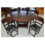 Modern Dining Table & 6 Chairs Lazy Susan Center