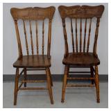 Pair Oak Pressback Chairs