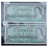 2 pcs 1954 Uncirculated $1 Banknotes CAD