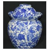 Blue Transferware Asian Pickling Jar / Soup Tureen
