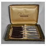 6 pcs Vintage Stag Handled Steak Knives & Case