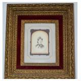 Antique Gold Gilt & Velvet Frame w Antique Photo
