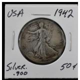 1942 Silver Walking Liberty .50c USD