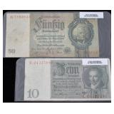 1924 & 1933 German Reichsmark Banknotes