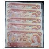 5 Consecutive Uncirculated 1974 CAD $2 Banknotes