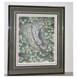Christine Marshall Ltd Ed Lithograph - Woodpecker