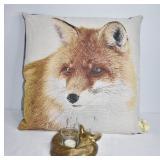 Fox Accent  Pillow & Sleeping Fox Candle Holder