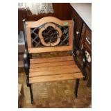Cast iron and wood bench- 23x20x seat height 15