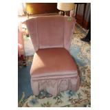 Pink upholstered sitting chair