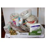 Large lot of assorted disposable plates/ napkins/